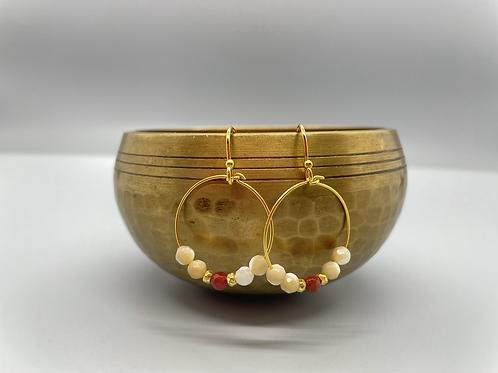 Red And Cream Amazonite Goddess Earrings