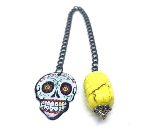 Yellow and Skull Guitar Pick Pendulum