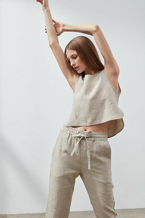 Vagamo Linen Crop Top