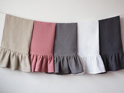 Linen Ruffled Kitchen Towel