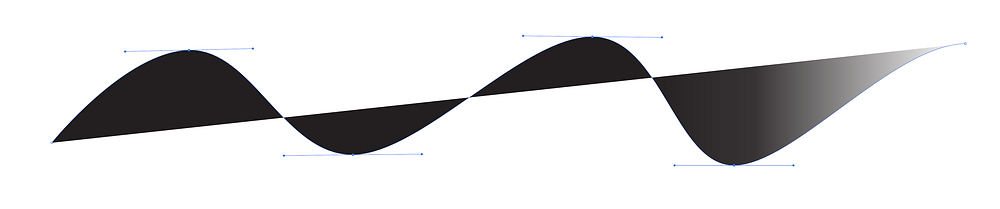A vector graphic showing editable handles, also known as bezier handles.