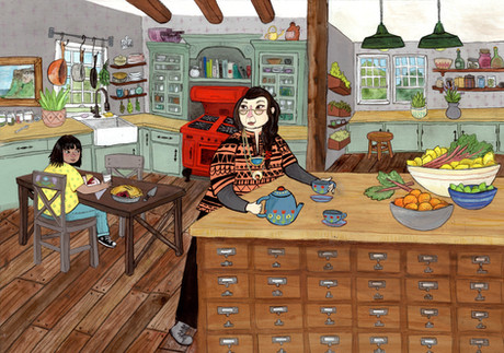Mimi and Penumbra in the Kitchen