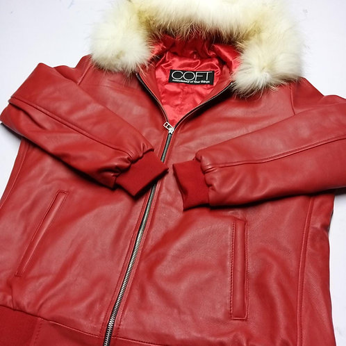 Leather COFT jacket with fur hood