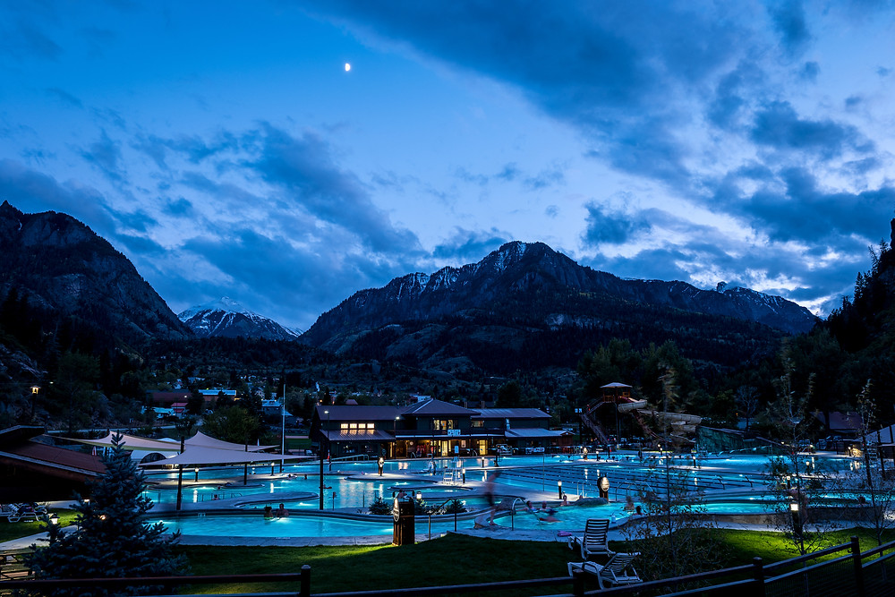 ouray hot springs pools at night in the winter time