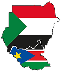 Flag map of Sudan and South Sudan