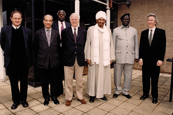 The Future of Peace Negotiations in the Sudan, 2002. Dr Eugene Rogan, Dr Peter Nyot Kok, Imam Al-Sadig Al-Mahdi, Sir Marrack Golding, Professor William Beinart.