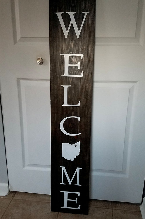 Outdoor Welcome Sign with State Outline
