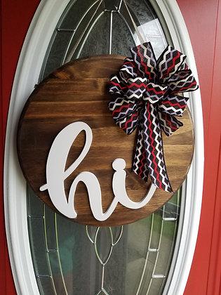 """""""Hi"""" Door Hanger with Bow"""