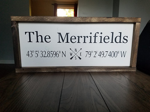 Last Name Sign with Coordinates