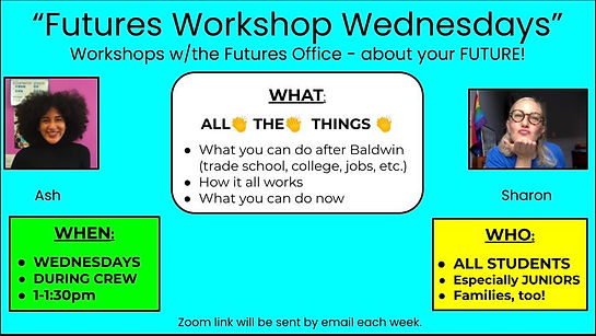 Poster for Futures Workshop Wednesdays In English