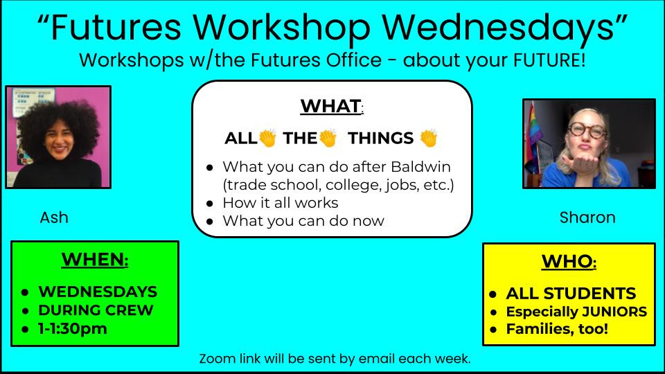 Ash and Sharon's promo poster for the Wednesday workshops