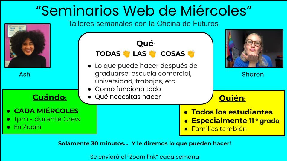 Ash and Sharon's promo poster for the Wednesday workshops (in Spanish)