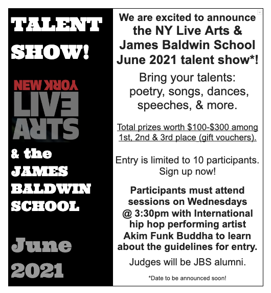 Poster with information similar to the post about the Talent Show coming in June.