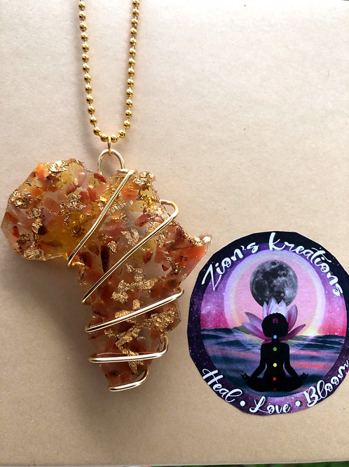 Africa orgonite (large) necklace