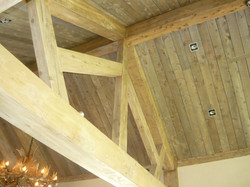 grey stained sarking and beams
