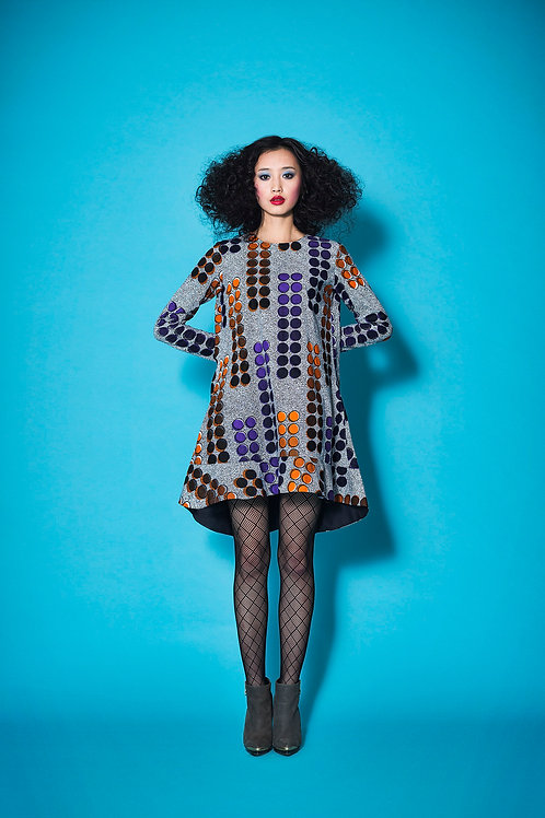 Long sleeve circular pattern dress