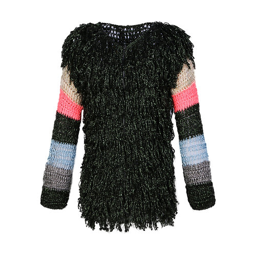Wool fringed jacket with tripped sleeves