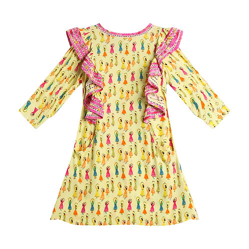 Dancing ladies side ruffles dress