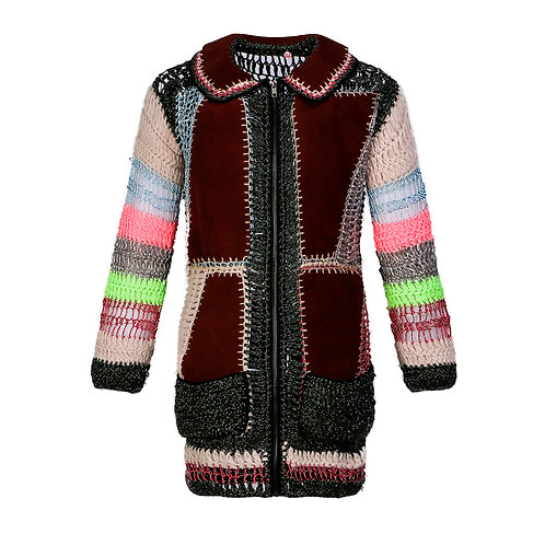 swede and wool patchwork long jacket