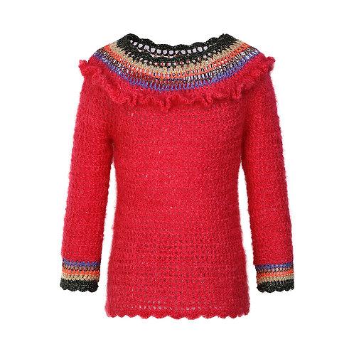 Red mohair crocheted jumper