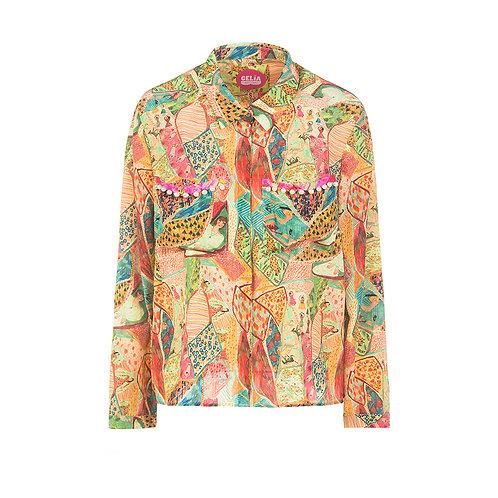 Silk shirt autum print
