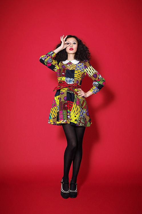 Multipattern patchwork dress