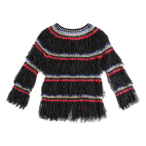 Fringed jumper with crocheted tripes