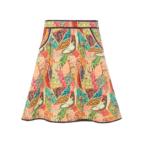 Autumn print padded skirt