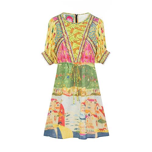 Multi-print puff sleeve dress