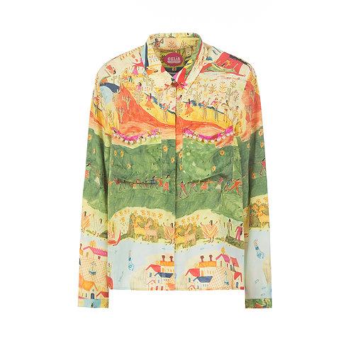 silk shirt landscape print