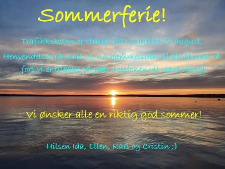 Vi tar sommerferie fra 17.juli!