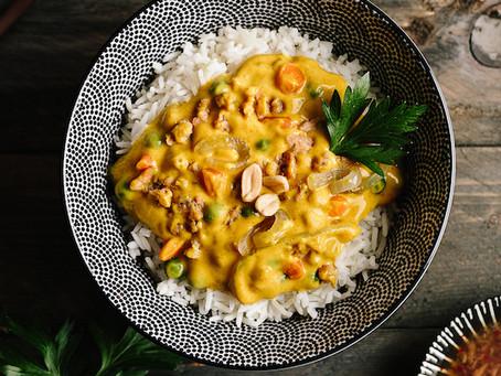Recette du Curry de protéines de soja ( et petits pois carottes)