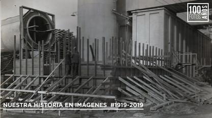 Operarios trabajando en estructura base horno