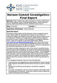 PUBLIC-HEALTH-WALES-Hanson-Cement-Invest