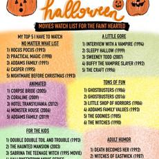 Halloween Movie Watch List for the Faint at Heart