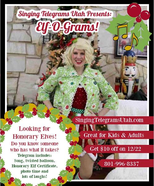 Elf Singing Telegram- Elf-O-Gram on 12/22