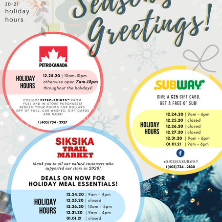 2020-21 Holiday Hours for Siksika Business Plaza