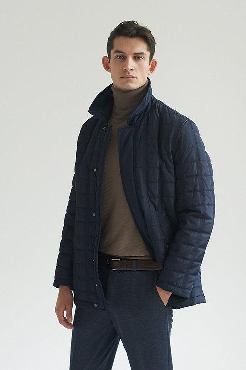 Синяя стеганная куртка