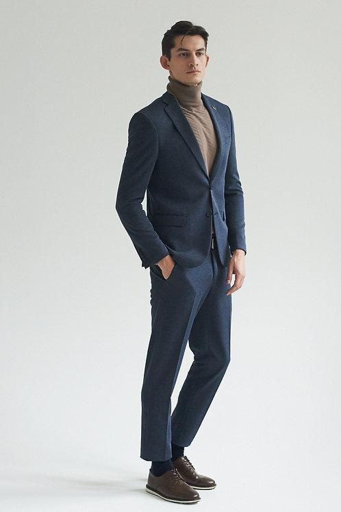 Твидовый серо-синий костюм