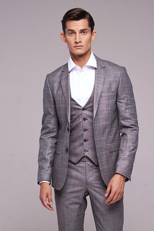Мужской костюм-тройка серый