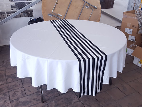 White & Black Striped Table Runners
