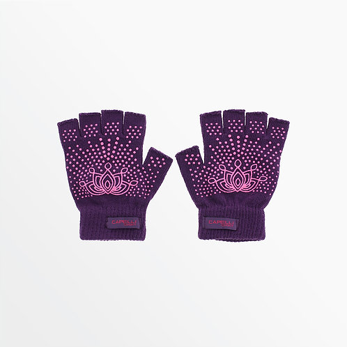 FINGERLESS YOGA GLOVES  WITH EMBROIDERY AND  MANDALA FLOWER GRIPPERS