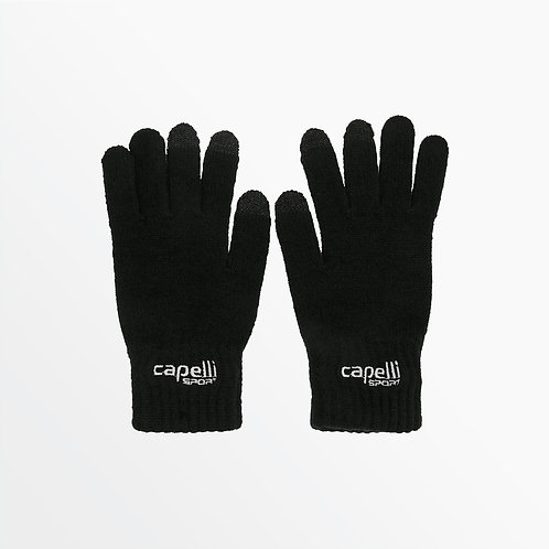 YOUTH BRANDED KNIT GLOVE WITH 3 FINGER TOUCH