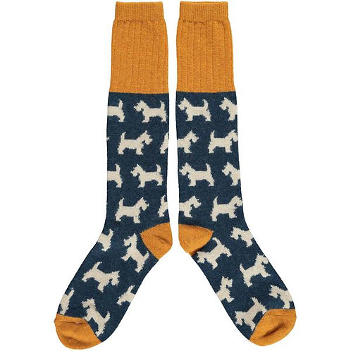 CATHERINE TOUGH LADIES LAMBSWOOL INKY BLUE SCOTTIE DOG KNEE SOCKS