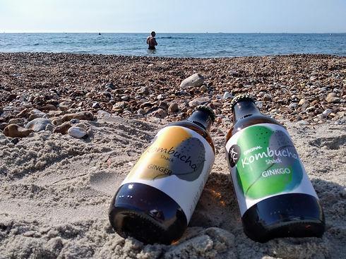 Ginger kombucha, ginkgo kombucha, beach, sand