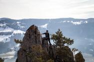 James freut sich auf dem Gipfel
