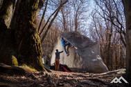 Mirko beschützt einen Boulderer