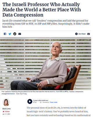 The Israeli Professor Who Actually Made the World a Better Place With Data Compression