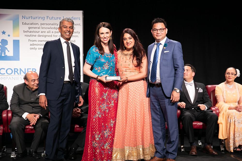 Ashima and Raj Pardeep Singh, Directors, Legal Associates, Winners of the 'Business Excellence in Marketing Award' with Radio Tarana Managing Director Robert Khan and Jacinda Ardern.