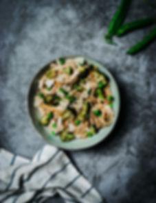 Pâtes aux brocolis petits pois et parmes